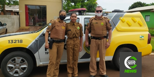 Polícia Militar de Santa Helena faz surpresa para aniversariante que sonha em ser policial