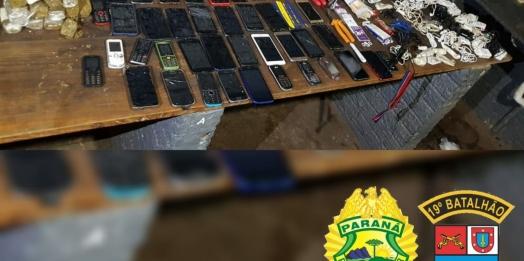 PM prende dois indivíduos que tentavam passar celulares, drogas e ferramentas para a cadeia pública de Guaíra