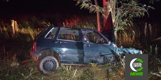 Condutor colide violentamente veículo em árvore na PR 488 em Diamante do Oeste