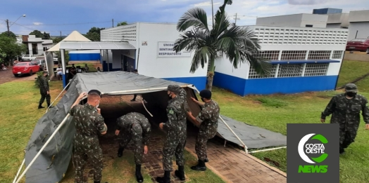 34º BI Mec e Tiro de Guerra montam barraca para auxiliar o atendimento na Unidade Sentinela