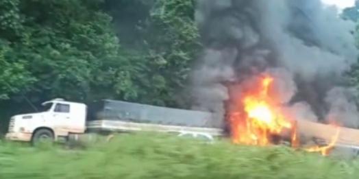 Vídeo mostra pai tentando salvar filho de carreta em chamas na BR-467