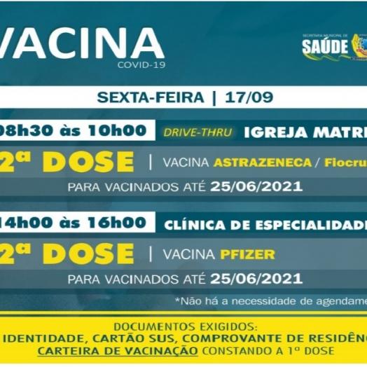 2ª dose das vacinas AstraZeneca/Fiocruz e Pfizer será aplicada nessa sexta-feira (17) em SMI