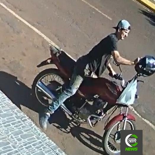 Câmera flagra furto de motocicleta em frente à lotérica em São José das Palmeiras