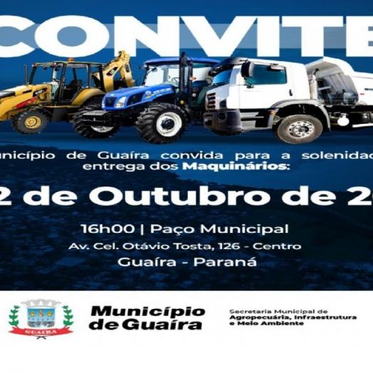 Maquinários serão entregues nesta sexta-feira em Guaíra