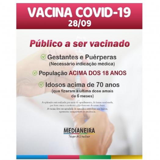 Medianeira está aplicando a dose de Reforço contra Covid-19 em idosos acima de 70 anos